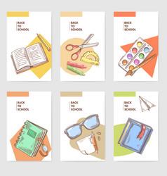 hand drawn back to school cards brochure design vector image vector image
