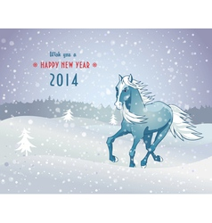 Winter landscape with snow horse new year 2014 vector image