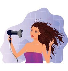 Brunette girl with hairdryer vector image vector image