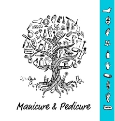 Manicure and pedicure Tree concept sketch for vector image