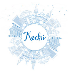 outline kochi india city skyline with blue vector image vector image