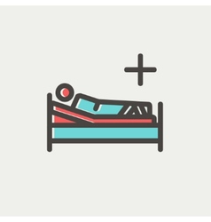 Patient is lying on medical bed thin line icon vector image