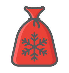santa bag filled outline icon new year christmas vector image vector image
