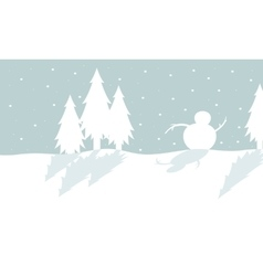 Silhouette of tree and snowman christmas vector