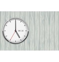 Clock on wooden grey background vector image vector image