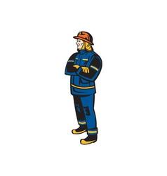 Fireman Firefighter Folding Arms Retro vector image vector image