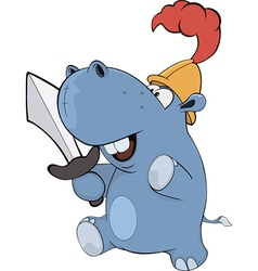 Little hippopotamus knight Cartoon vector image vector image