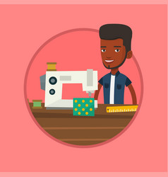 Seamstress using sewing machine at workshop vector