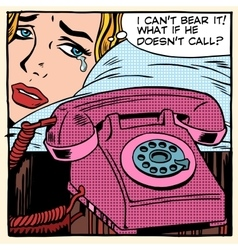 The woman is crying and waiting for a call vector