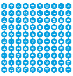 100 earth icons set blue vector image
