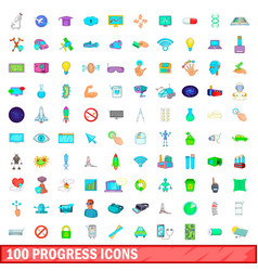 100 progress icons set cartoon style vector image