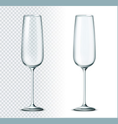 3d champagne flute glass for alcohol drinks vector