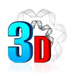 3d cinema with film strip vector