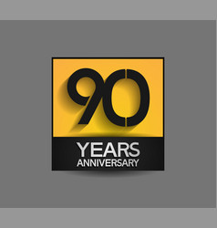 90 years anniversary in square yellow and black vector
