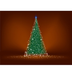Abstract green christmas tree on brown EPS 8 vector image