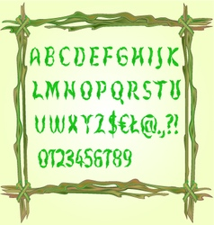 Alphabet made of leaves fonts in a frame vector