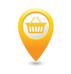 Basket icon yellow map pointer vector