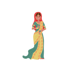 Beautiful indian woman in traditional sari vector