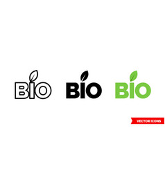bio symbol icon 3 types color black and white vector image