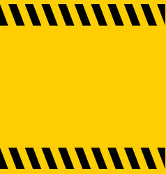 black and yellow warning line striped square title vector image