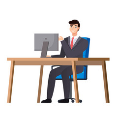 business employees on their workspace co-worker vector image