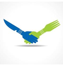 Businessman handshake through restaurant forks vector image