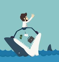 Businessman standing on jaws shark vector