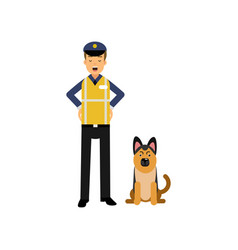 Cartoon flat police officer in high visibility vector