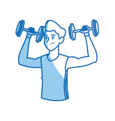 Cartoon man holding dumbbell design graphic vector