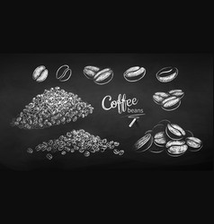 Chalk drawn sketches set coffee beans vector