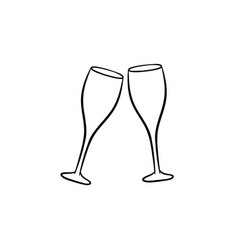 Champagne glasses hand drawn sketch icon vector