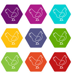 chicken icons set 9 vector image