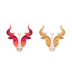 chinese new year 2021 year ox red cow vector image