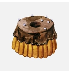 Chocolate glazed cake vector