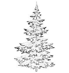 Christmas tree with ornaments contours vector