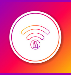 color wifi locked sign line icon isolated on vector image