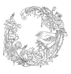 coloring flowers and birds 10 vector image