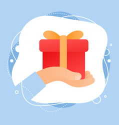 creative of human hand giving a red gift box with vector image