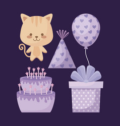 cute cat and set icons party vector image