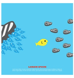 fish eat meat for business vector image