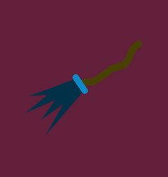 Flat icon on background of witchs broom vector