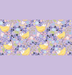 Folk art style sugar bird pattern vector