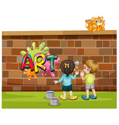 Font design for word art with kids painting vector
