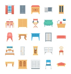 Furniture Colored Icons 8 vector image
