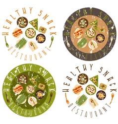 Grunge labels set for healthy food restaurant vector