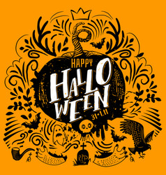 Halloween lettering on yellow vector