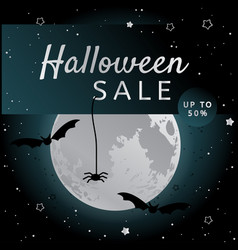 Halloween sale background with bats and fool moon vector