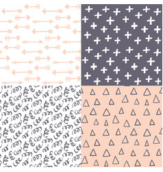 Hand drawn abstract seamless pattern set simple vector
