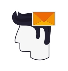 head and envelope icon vector image