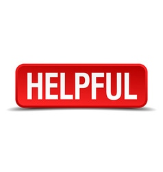Helpful red 3d square button on white background vector image
